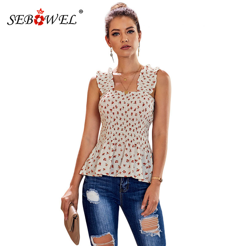 SEBOWEL Top-Vest Tank-Tops Elastic-Straps Flower-Print Ruched Floral Ruffle Plus-Size