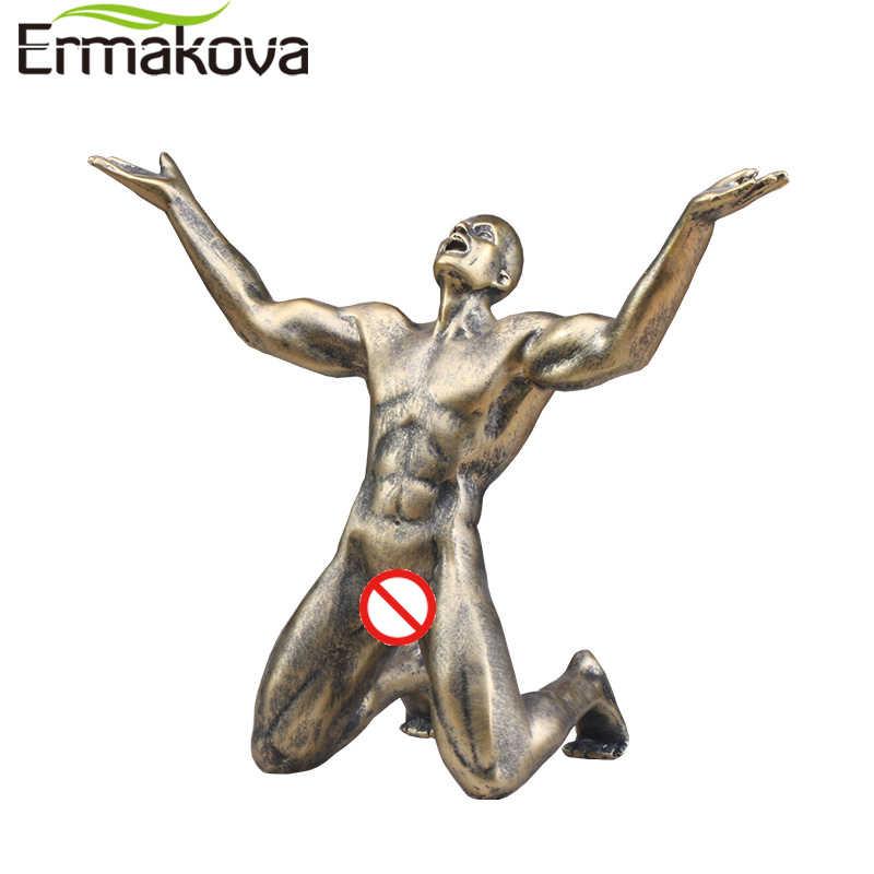 Ermakova Resina Roaring Uomo Statua di Posizione in Ginocchio Scultura Uomo Retro Artigianato Scultura Home Office Soggiorno Decorazione Della Stanza
