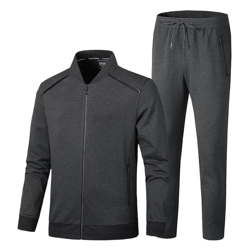 Mens Set 2PCS Cotton Casual Sportswear Tracksuits Sweatshirt Gyms Hoodies Long Pants Hombre Jackets Autumn Winter Clothing L-9XL