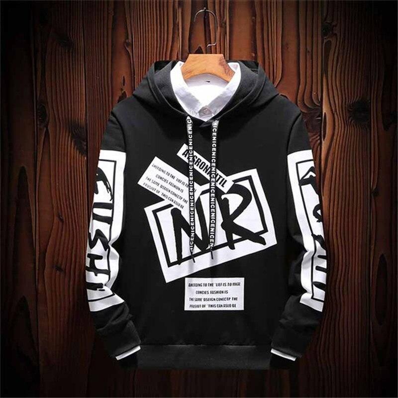 New Casual Black White HOODIE Men Hip Hop Street Wear Letter Print Sweatshirts Skateboard Men/Woman Pullover Hoodies Male 2019