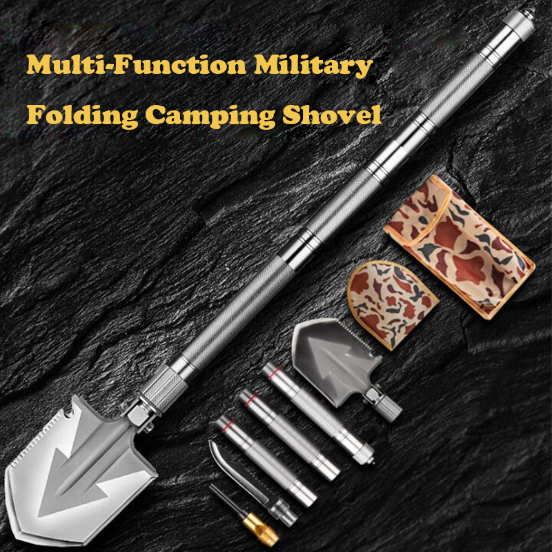 Max Length 92cm Shovel High-carbon Steel Shovel Outdoor Tactical Multifunctional Shovel Folding  Camping Equipment Army Tool