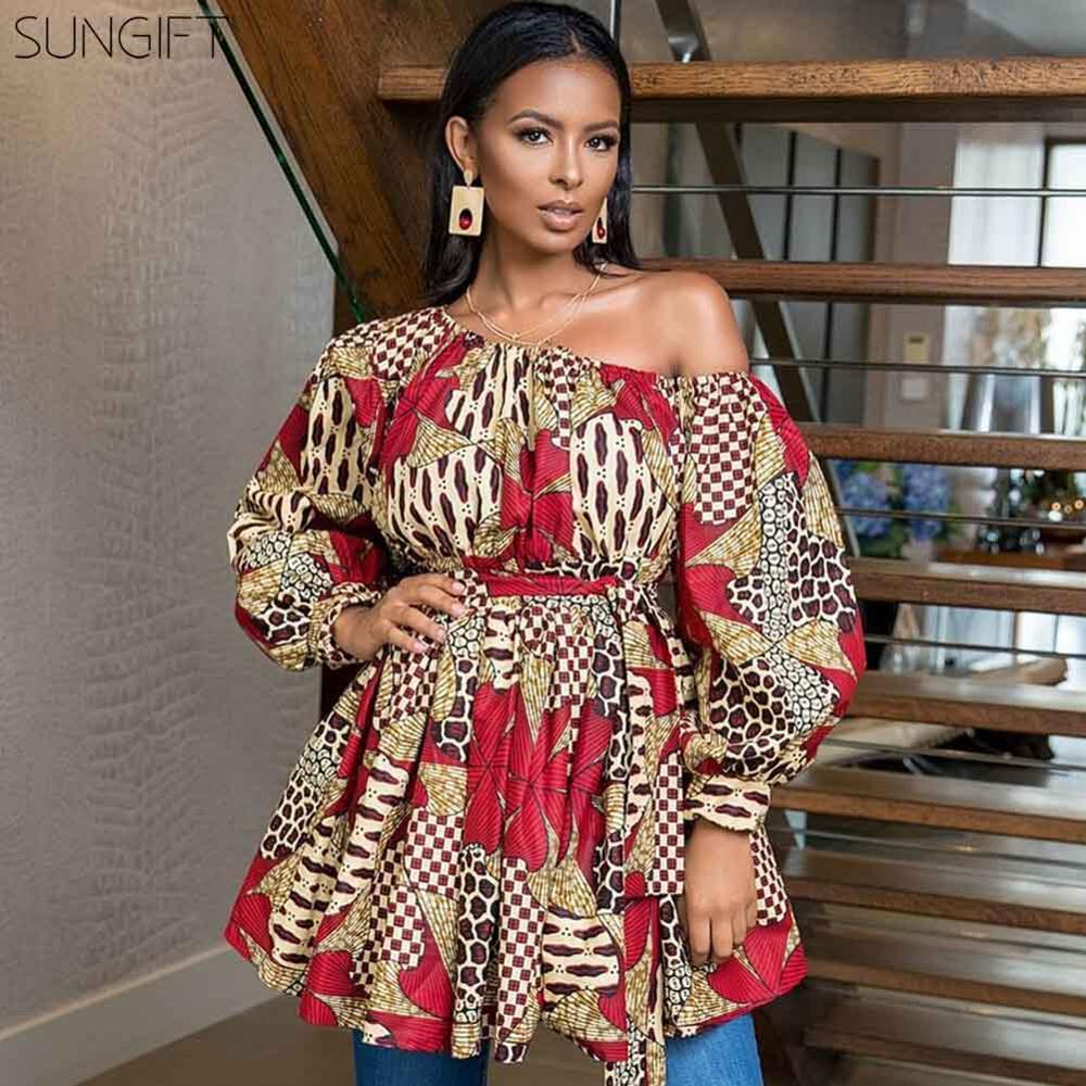 SUNGIFT Dashiki African Women's Dresses Ladies Midi Dress Digital Flower Printing Slope Shoulder Puff Sleeve Dress Summer Skirt