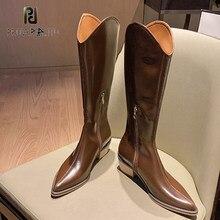 Moda na altura do joelho botas altas mulheres outono inverno novo dedo do pé apontado botas de couro cavaleiro botas ocidentais botas mujer 2020