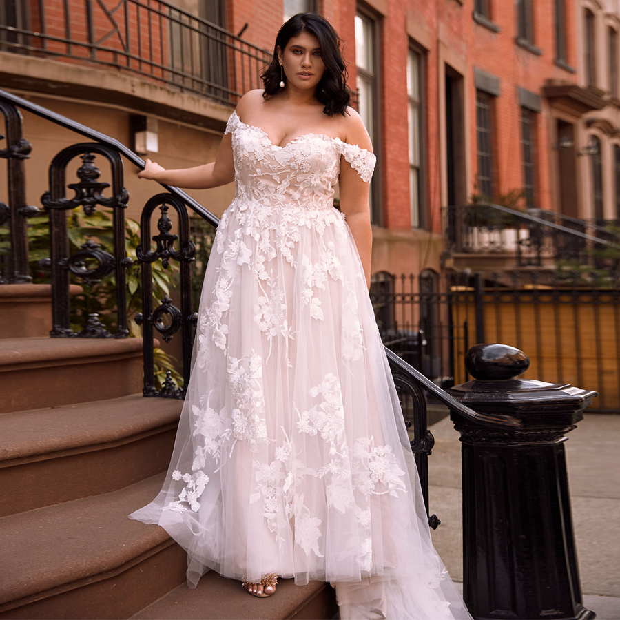 Plus Size Off The Shoulder Wedding Dresses Sweetheart Lace A-line Flowers Bridal Wedding Dress Robe De Mariage