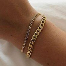 Couleur Miniamlist – bijoux en acier inoxydable 316L 18k, chaîne cubaine plaquée or, Style de rue, 1-2 ans