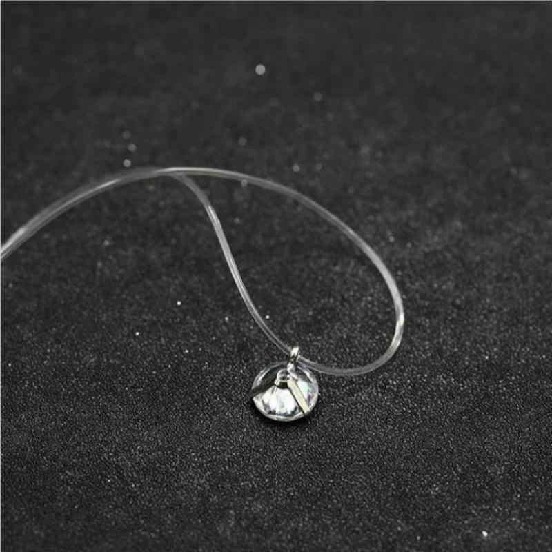 Fashion Shiny Crystal Ketting Zirkoon Hanger Transparante Vislijn Onzichtbare Dames Ketting Sieraden Sleutelbeen Keten Chocker