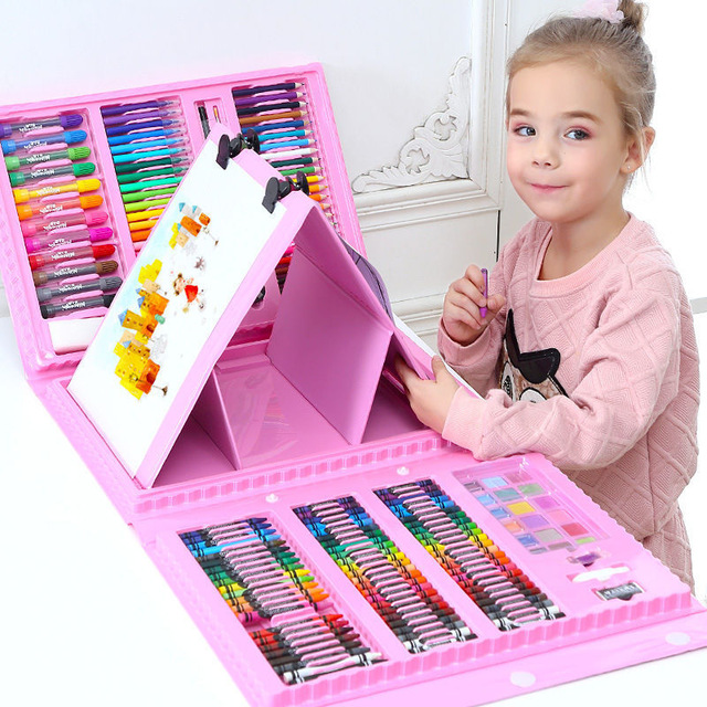 Besegad 208pcs Children Kids Colored Pencil Artist Kit Painting Crayon Marker Pen Brush Drawing Tools Set Kindergarten Supplies(China)