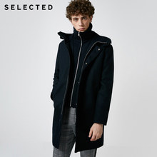 SELECTED Men's Autumn & Winter Wool Blend Coat New Stand Collar Hooded Woolen Jacket S | 418427540(China)