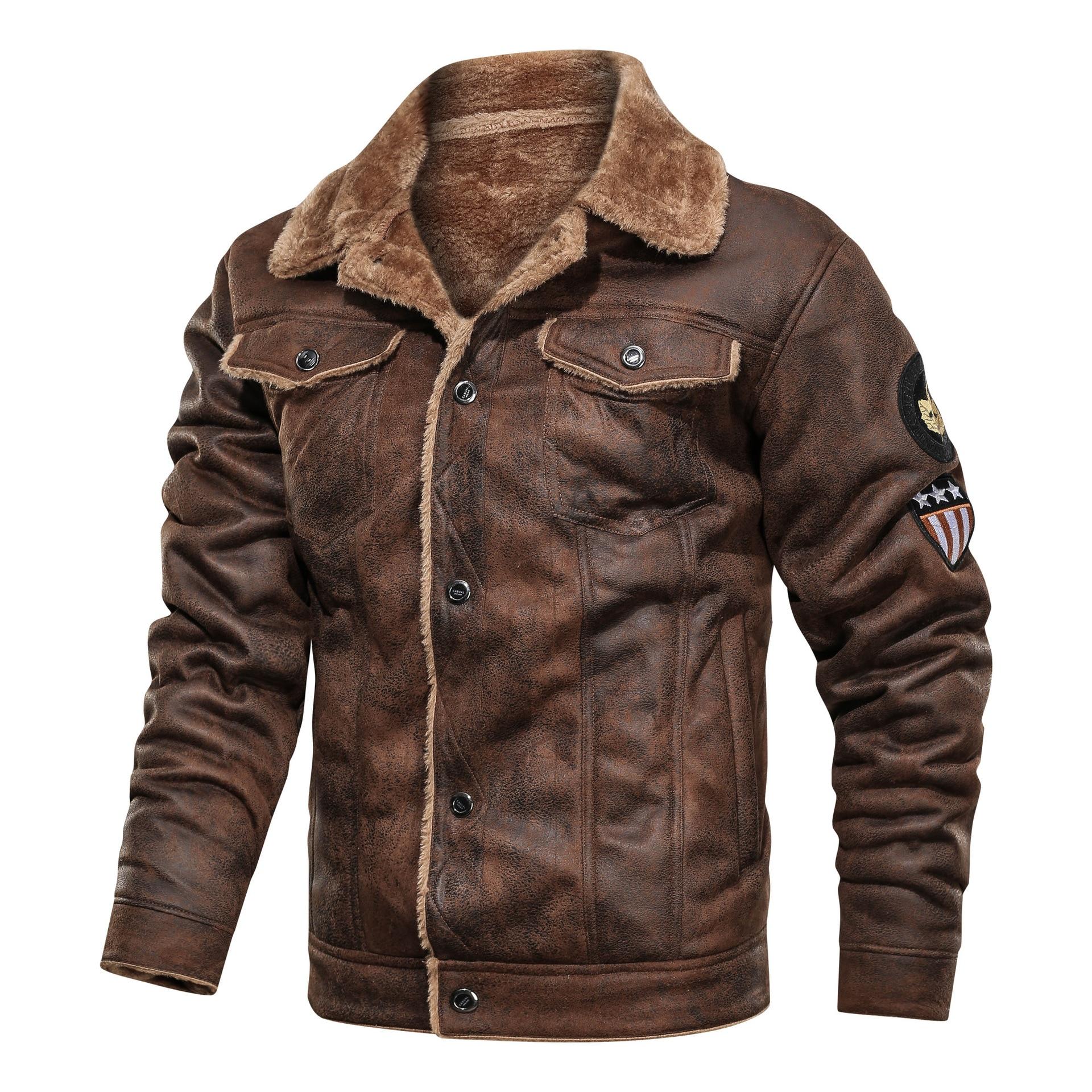 Winter Fur Leather Jacket Mens Suede Leather Jackets Men Faux Fur Thick Warm Suede Jacket Men Motorcycle Jacket Men