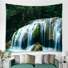 3DNature Tapestry Polyester Mountains Green Forest Waterfall Wall Hanging Carpet Mandala Tapestry Throw Yoga Mat Home Decoration hanging mountains boat lake wall tapestry