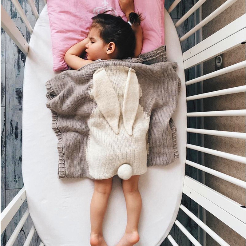 Cute Rabbit Ears Baby Blanket Knitted Outdoor Camping Kids Blanket Soft Beach Mat Newborn Photography Props Blanket  Baby Decke