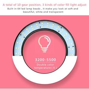 Image 2 - LED 링 라이트 16cm 26cm 5600K 64 LED Selfie 링 램프 사진 조명 삼각대 전화 홀더 U