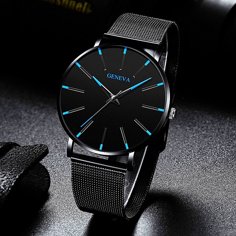 2020 Ultra Thin Watch Men Business Blue Dial Watch Quartz Stainless Steel Strap Band Simple WristWatch Male Clock Free Shipping
