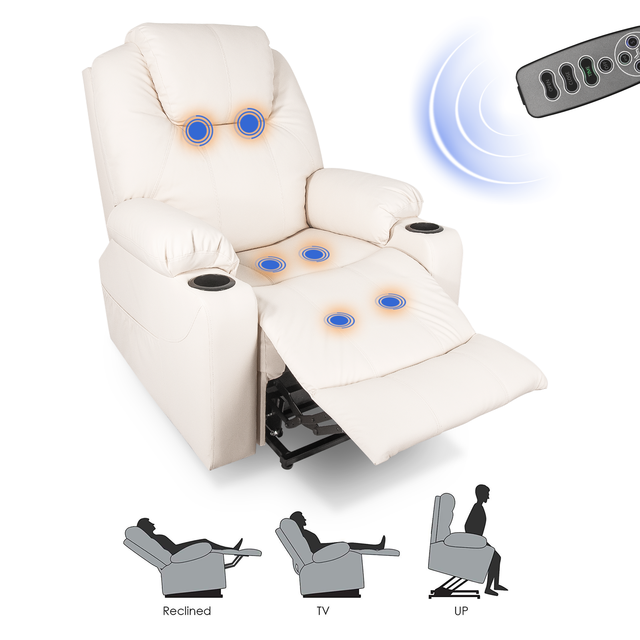 2021 Upgraded Electric Massage Chair Power Lift Recliner Chairs Leisure Soft Sofa Full Body Shiatsu Lounge Armchair for Elderly 1