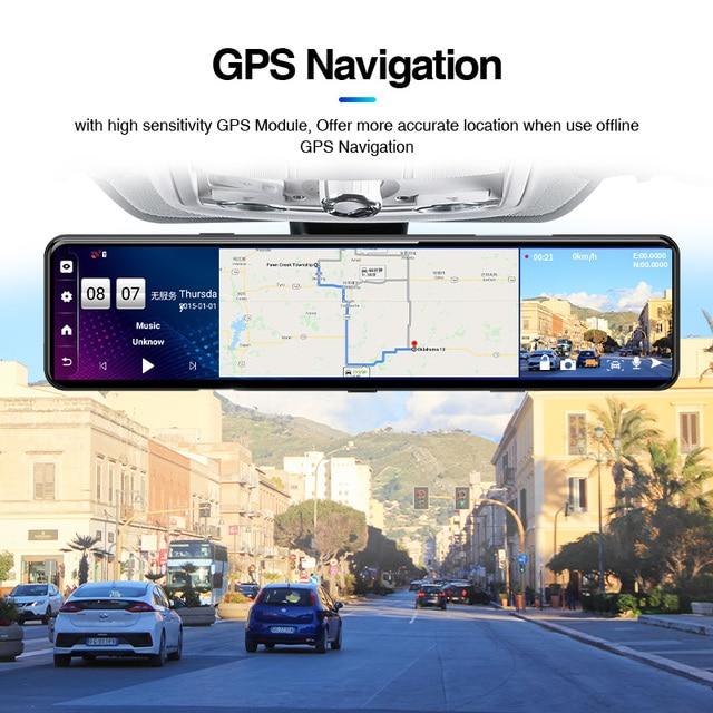 "ACCEO12"" Car DVR Rearview Mirror 4G Android 8.1 Dash Cam GPS Navigation ADAS FHD 1080P Auto Video Recorder Camera WiFi Dashcam 3"