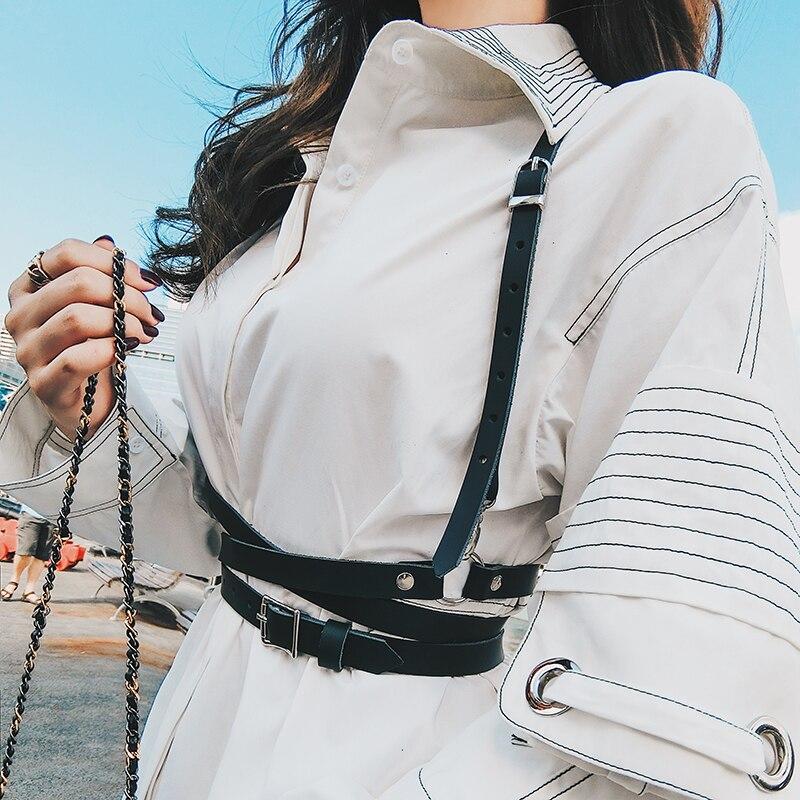 Fashion Women Faux Leather Cage Vest Body Shaper Chest Sculpting Body Harness Strap Punk Rock Handmade Waist Belt Waist Cincher