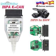 Obd2 para bmw inpa k + pode d pode inpa com ft232rl chip switch ferramenta de diagnóstico para bmw inpa cabo de interface usb com 20pin para bmw
