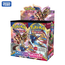 Cartas colecionáveis de pokemon, cartas de pokemon com espada e protetor de caixa, cartas de negociação, jogo de presente para crianças, 324 peças