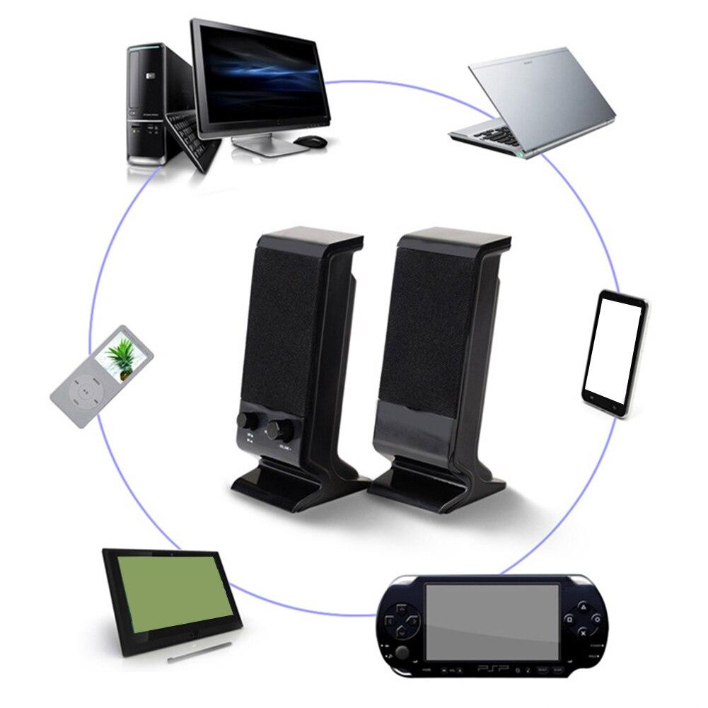 ПК с регулятором громкости, стерео колонки для настольного компьютера, музыкальный плеер, USB питание, двойной трек, Мини 3,5 мм разъем, портативный Проводной ноутбук, 3 Вт