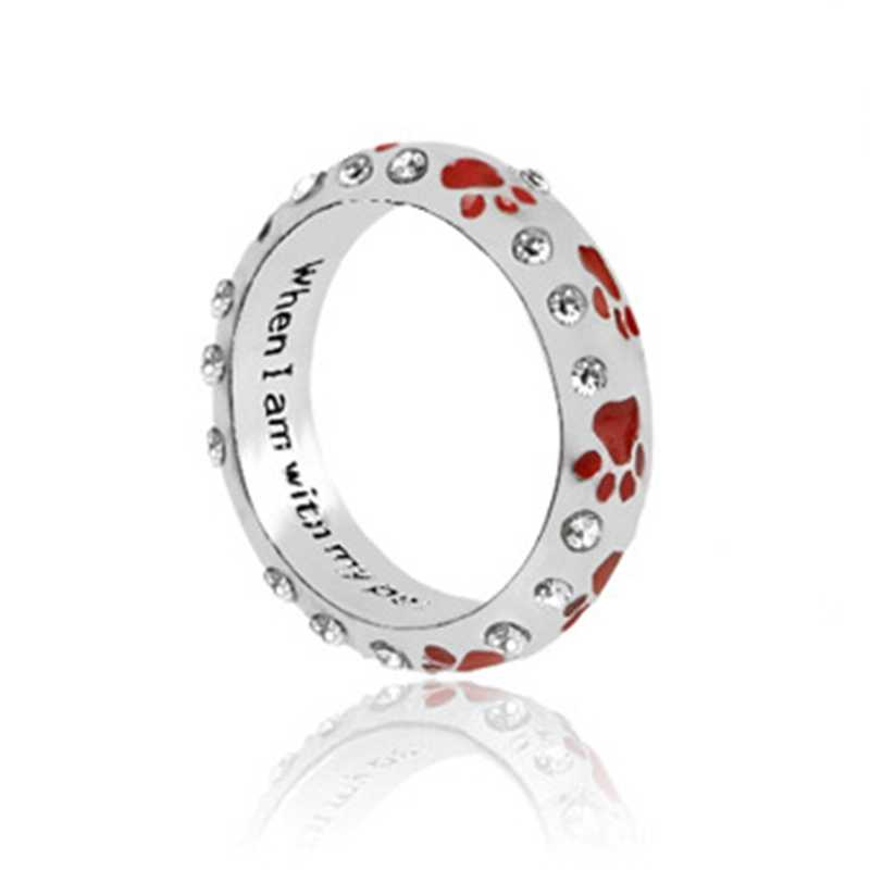 แฟชั่นแหวนสัตว์เลี้ยง Lover แหวนสุนัข Paw แหวนเครื่องประดับเคลือบมือ stampe ส่วนบุคคลแหวน Love Pet อนุสรณ์เครื่องประดับแหวน