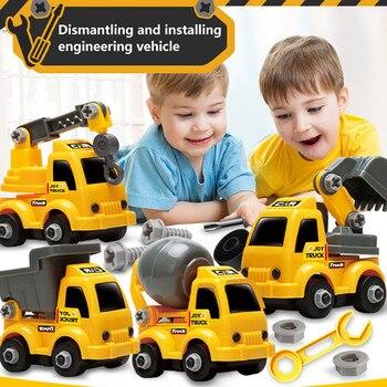 Koparka samochodziki zabawkowe dla dzieci plastikowy żółty Mini ciągnik siodłowy koparka samochód dzieci chłopiec zagraj w Buggy inżynieria samochodzik