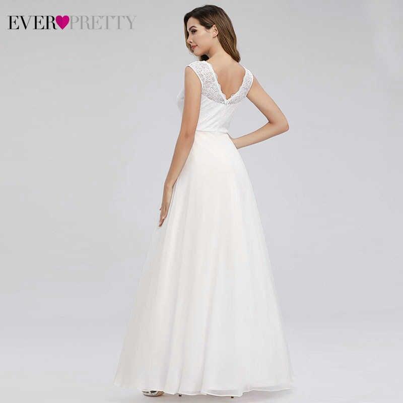 אלגנטית תחרה חתונה שמלות אי פעם די EP00811WH אונליין V-צוואר פשוט חוף סגנון פורמליות הכלה שמלות Vestido דה Novia 2020
