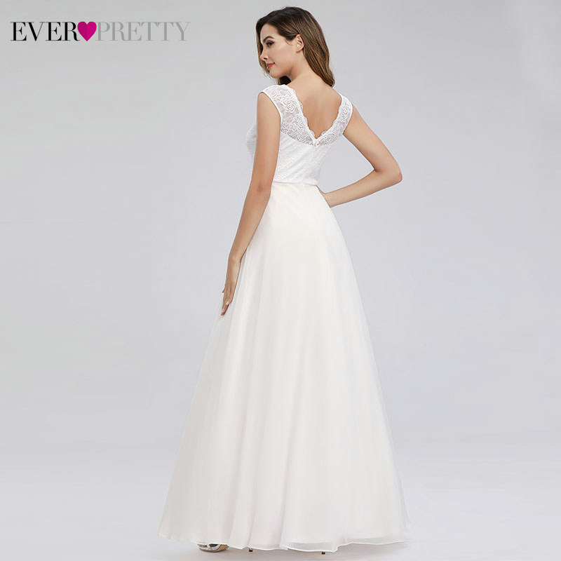 Image 2 - Elegant Lace Wedding Dresses Ever Pretty EP00811WH A Line V Neck Simple Beach Style Formal Bride Dresses Vestido De Novia 2019-in Wedding Dresses from Weddings & Events