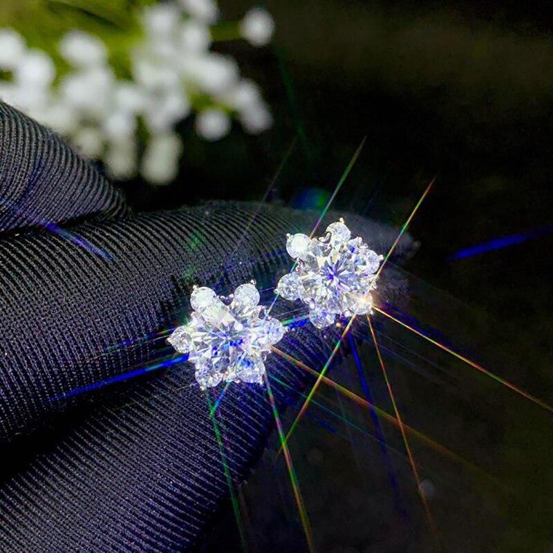 BOEYCJR 925 argent 0.5/1ct F couleur Moissanite VVS bijoux fins diamant boucle d'oreille avec certificat national pour les femmes cadeau