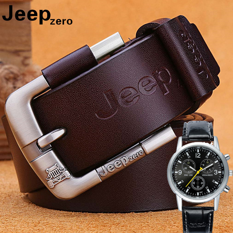 Designer Jeep Zero 100% Upper Genuine Leather Alloy Pin Buckle Belt For Men Business Men Belt Fancy Vintage Jean Cintos Belts