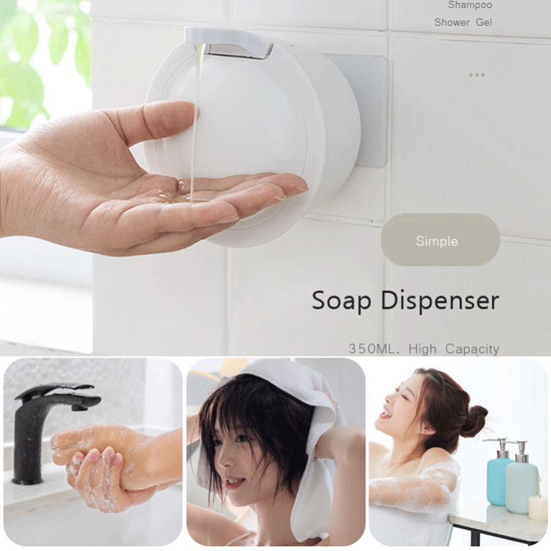 Automatic ABS Wall Mount Sensor Soap Dispenser Hands Free Wash Machine 350mL