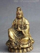 YM  308  Chinese Buddhism Brass Sit Vase Free Kwan yin GuanYin Bodhisattva Goddess Statue