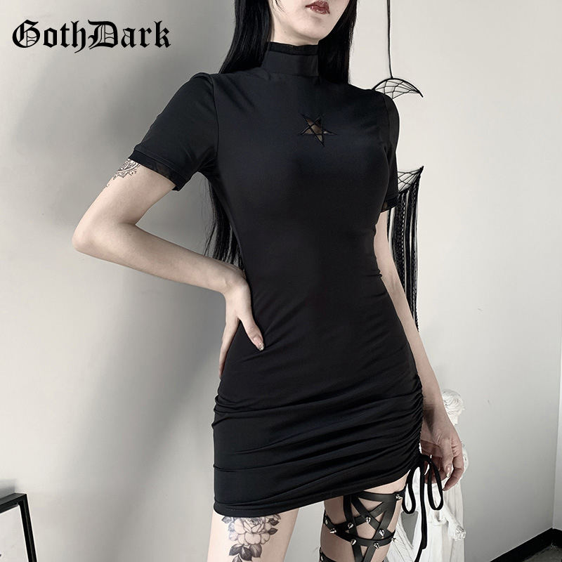 Goth Dark Vintage Black Gothic Female Dresses Harajuku Spring 2020 Grunge Puk Egirl Emo Y2K Dress Aesthetic Bandage Hollow Out