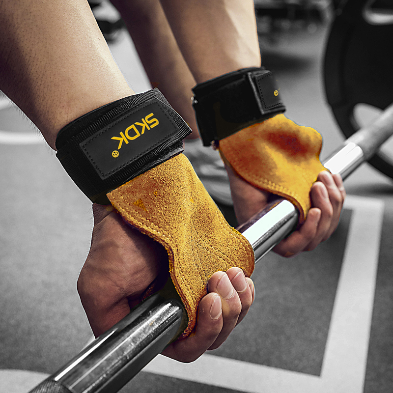 SKDK 1Pair Cowhide Gym Gloves Grips Anti-Skid Weight Lifting Grip Pads Deadlifts Workout Crossfit Fitness Gloves Palm Protection