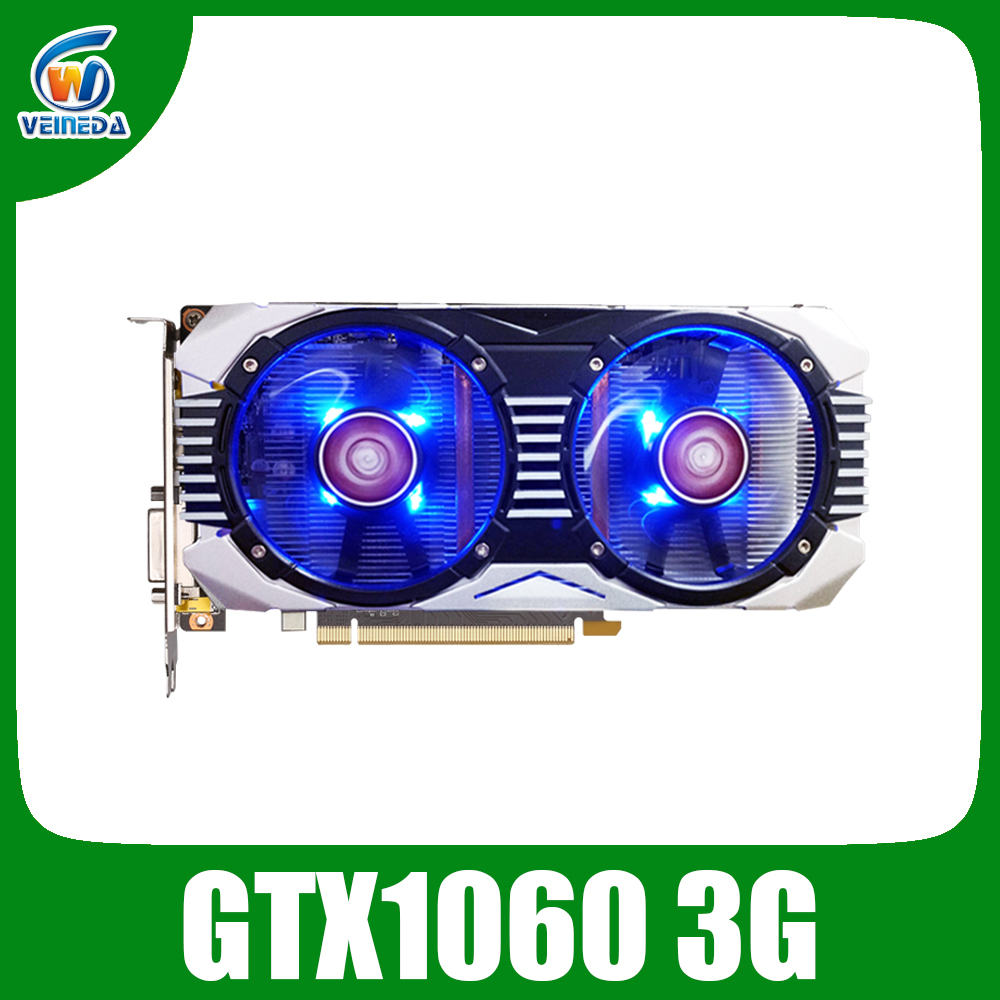 VEINEDA Video Card GTX 1060 3GB Graphics Cards Map For nVIDIA Geforce GTX1060 GDDR5 192Bit Hdmi Dvi game Video Cards
