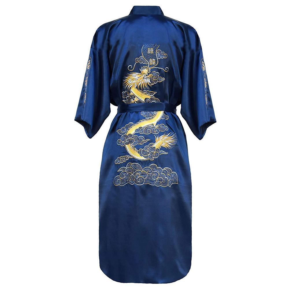 Повседневная мужская пижама с коротким рукавом, кимоно, платье, изысканная вышивка, Свадебный халат с драконом, летняя Мягкая атласная ночная рубашка, домашняя одежда, пижама - Цвет: Royal Blue A