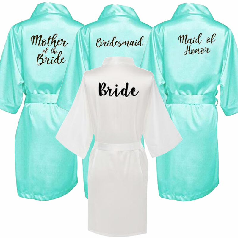 Sexy Green Robe Kimono Bridal Pajamas Wedding Robe Bridesmaid Matron Maid Of Honor Sister Mother Of The Bride Robes