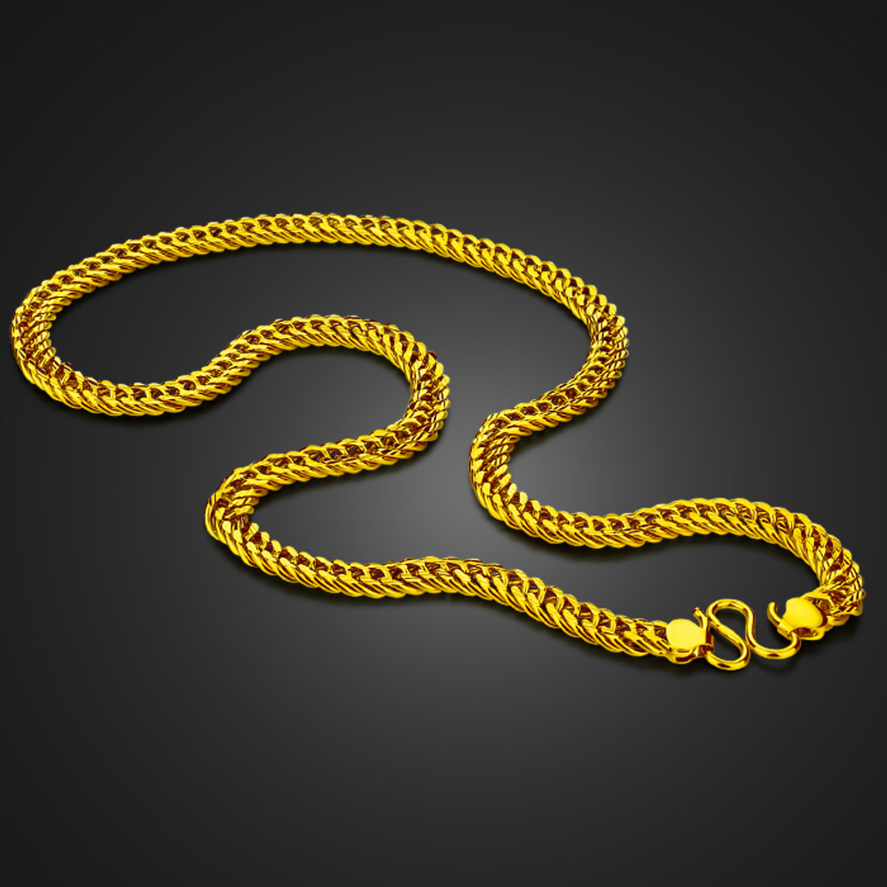 100% 925 sterling silver New fashion men Golden 8 mm 60cm gold Curb chain Men Golden necklace jewelry