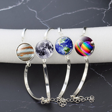 Fashion Silver Bracelet Earth Planet Moon Sun Bangle Glass Cabochon Jewelry Solar System Bracelets Souvenir Women Gifts