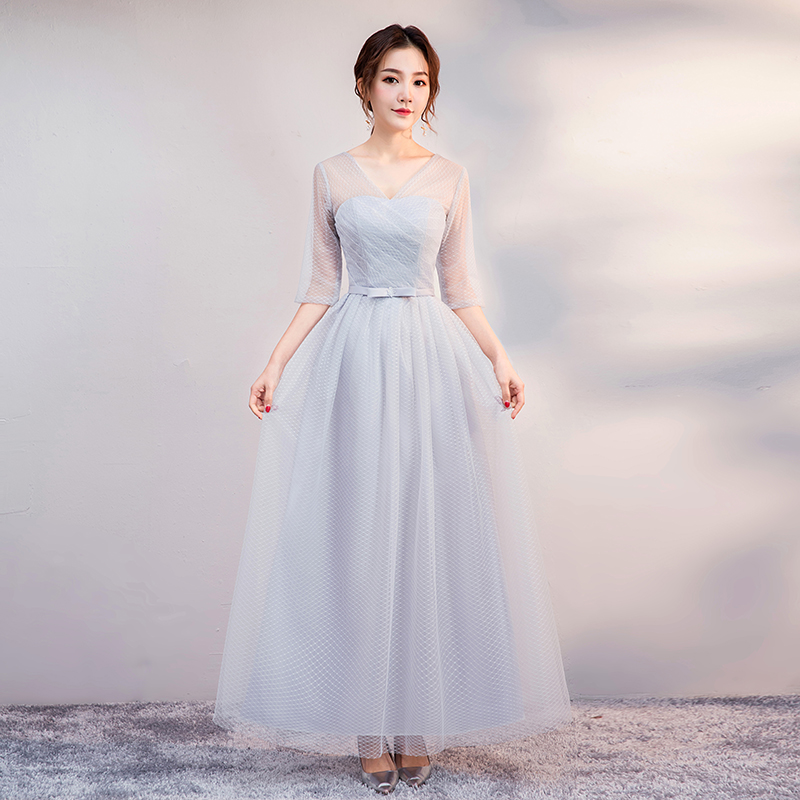 V-neck Elegant Dress Women For Wedding Party Plus Size Tulle Bridesmaids Dresses Sister Vestido Wedding Guest Dress Sexy Prom