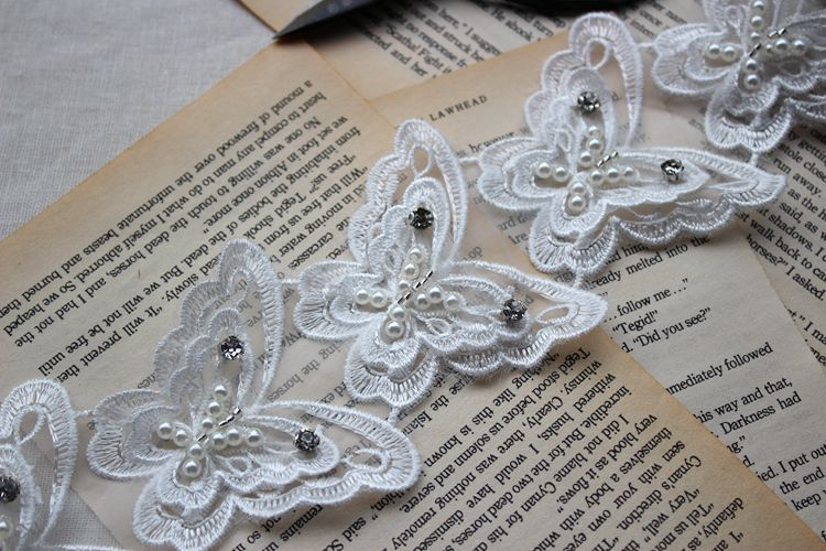 6 5cm Wide Exquisite Double layer Butterfly Mesh Embroidery Lace Cloth Stickers Handmade Beaded DIY Wedding Dress Jewelry in Lace from Home Garden