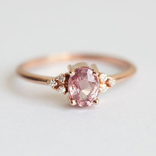 USTAR Oval Pink CZ stone Wedding rings for women fashion jewelry Cubic Zirconia rose gold finger engagement rings female anel luxury large pink opal finger rings rose gold color fashion brand cubic zirconia punk jewellery jewelry for women dfr086