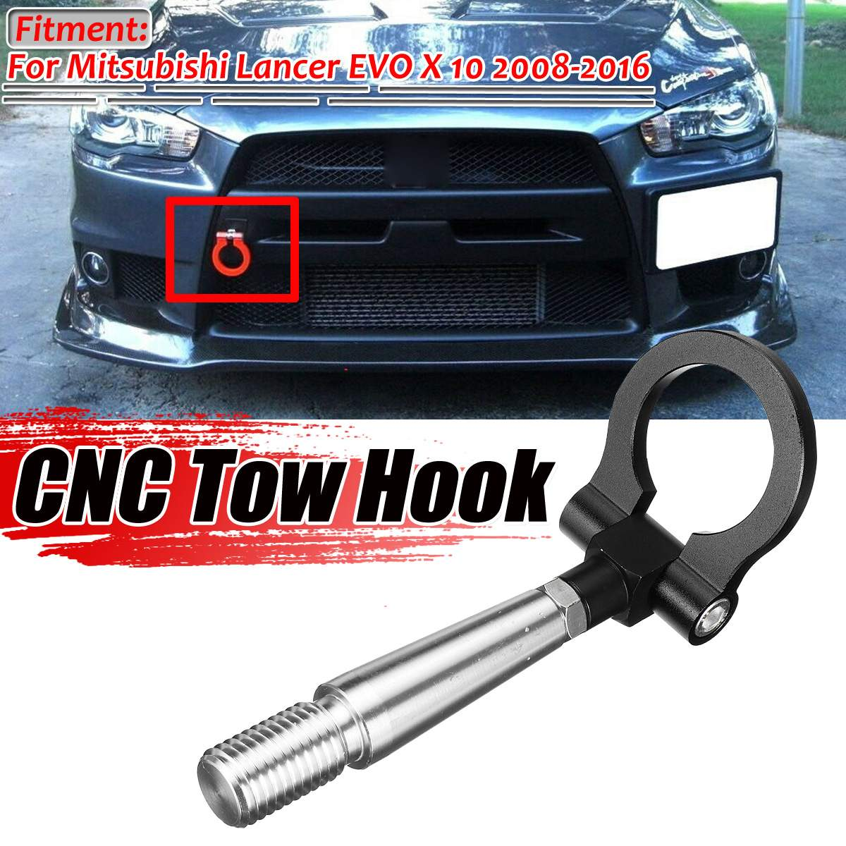 Black/Red/Blue Towing Bar For Car Track Racing CNC Tow Ring Hook Kit For Mitsubishi Lancer EVO X 10 2008-2016 Trailer Towing Bar