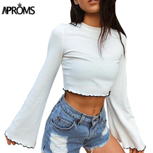 Aproms 90s Girls Flare Sleeve Crop Top Casual Frill White Basic T-shirt Women Long Sleeve Cropped T Shirt Female Ribbed Tops