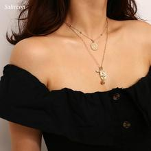 Salircon Romantic Rose Pendant Choker Necklace Gold  Silver Alloy Hollow Round Geometry Three Layer Jewelry Women Gifts