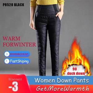 Image 5 - מזדמן נשים לבן ברווז למטה מכנסיים החורף עבה חם Slim גבוהה מותן מכנסי עיפרון לנשים בתוספת גודל מכנסיים Feme Berylbella