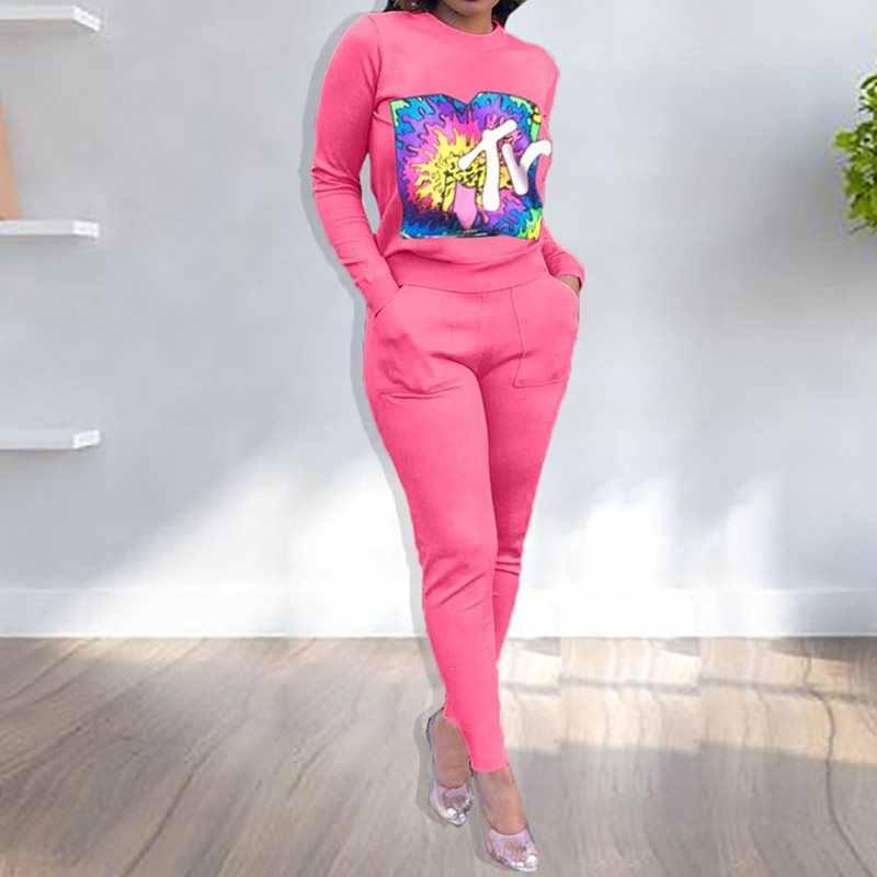 Otoño Invierno manga larga estampado de letras chándal mujer Streetwear Casual Sport Tops pantalón traje de dos piezas conjunto de chándal talla grande