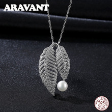 Luxury Brand 925 Sterling Silver Leaves Zircon Pearl Pendant Necklaces For Women Wedding Jewelry