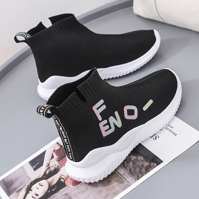 Stretch Socks Shoes Korean Version Of The Thick-soled Sports And Leisure Shoes Autumn 2019 New Black Wild Flat Bottom Shoes Tide