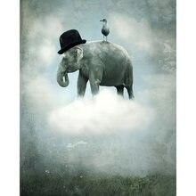 Diy картина по номерам слон птица комплект маслом Животные настенная