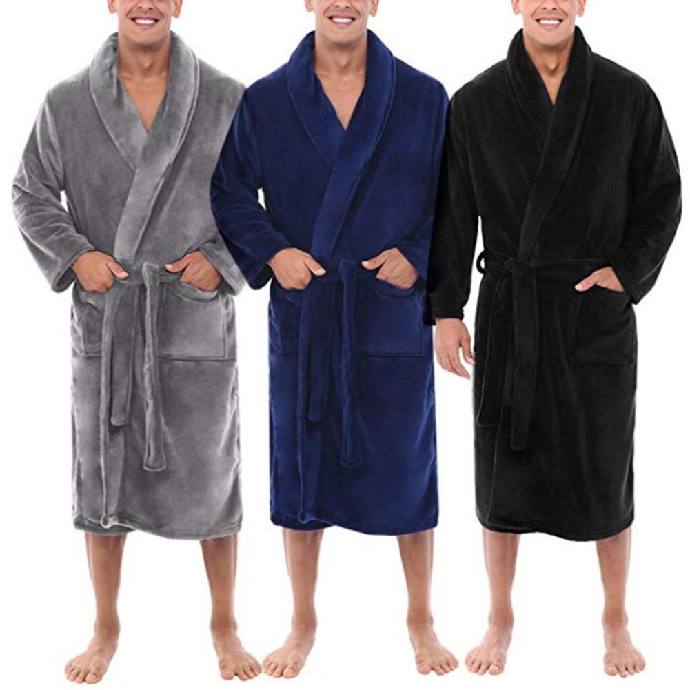 Autumn/Winter Men Nightgown Bathrobe Gown Corals Fleece Negligee V-neck Intimate Lingerien Solid Colour Sleepwear